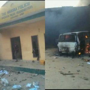 The city of Aba, the commercial hub of Abia State is on fire today as unidentified persons in the early hours of today attacked the Ariaria Police Divisional Headquarters and burnt it. Most markets in the city and other businesses have been closed and people stayed in their homes as youth unrest spread round the city like wild fire following rumours that went viral in the wee hours of today that soldiers burnt houses and killed some residents of Umuode near Aba and its environs, Sun reports. Information about the attack as at the time of filing the report was sketchy, although sources said that there was no casualty. It was gathered that following the attack, security has been beefed up at the Aba Area Command Headquarters and other Police Divisions in the commercial city. The Area Command headquarters was cordoned off and vehicles were not allowed to enter the adjourning roads.