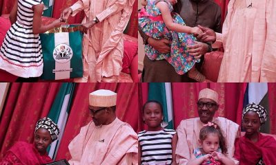 PRESIDENT BUHARI RECEIVES YOUNG ADMIRERS, NICOLE, MAYA AND AISHA