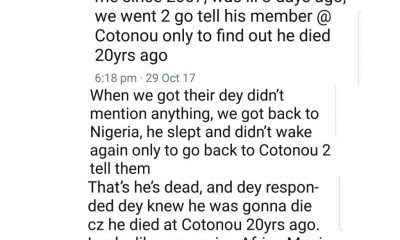 Akudaaya? Nigerian Lady Discovers Gateman Of 10 Years Died 20 Years Ago
