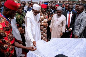 Photo Speak:President Buhari  Commissions Project, Receives Chieftaincy Tittle In Ebonyi