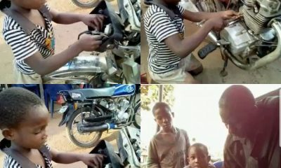 Meet 5-Year-Old Boy Who Repairs Motorcycles In Order To Raise His School Fees (Photos)