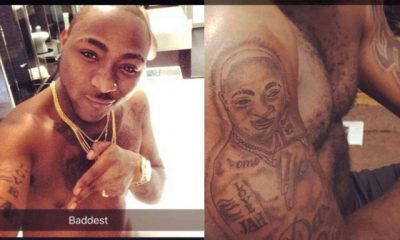 #FanLove: Nigerian Man Gets Huge Tattoo Of Davido's Face On His Arm