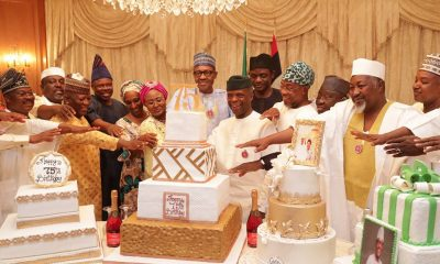 Photos: Aisha Buhari, VP Yemi Osinbajo, Wife Dolapo, Governors, Ministers And Others Throw President Buhari A Surprise Party