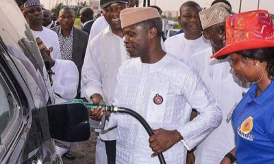 #FuelScarcity: Vice President, Yemi Osinbajo turns petrol station attendant in Lagos
