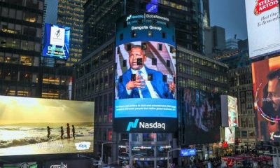 ALIKO DANGOTE'S PICTURE DISPLAYED ON NASDAQ TOWER IN TIMES SQUARE, NEW YORK