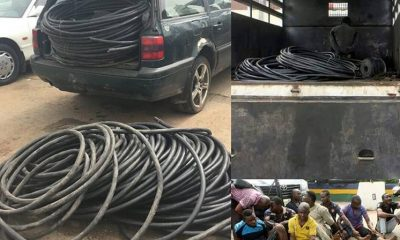 """RRS arrests cable thief syndicate, recovers 168 metre long cable . . A cable thief syndicate who specialise in vandalising government and private company's cable in different parts of Lagos, has been arrested by operatives of Rapid Response Squad (RRS) of the Lagos State Police Command. . . The officers also recovered 168 meter long cable which the suspects stole at the same point in the previous weeks as well as two sledge hammers and a green Volkswagen wagon Passat. . . The six suspects were arrested on Friday when men of the Decoy Team of Rapid Response Squad acting on a tip off ambushed the suspects on Third Mainland Bridge, Lagos where they were billed to operate around midnight. . . The syndicate, in the absence of its ring leader, identified as Kingsley, an ex-convict, was led by a 29 year old Henry Akpan, a security guard manning the cable. . . According to Akpan, he was invited to join the syndicate by Kingsley. """"I am the one that arrested Kingsley and handed him over to the police, which led to his conviction and imprisonment. . . When he came back from Kirikiri Prison, he came to see me. He told me that can he come back and work in the place? By this time, the company I was working for had disengaged me. . . Out of the four years I worked for them, they only paid me for four months. Eventually, they said thieves were still stealing cable and because of this, they laid me off. . . I colluded with him. I offered to provide him with security while he breaks into the tunnel of the Third Mainland Bridge median to cut the cables. We normally operate late in the night. . . I do the surveillance while he cut the cable and roll it out. Once the deed is done, and he is out. I collect my money and walk away from the scene."""" While Kingsley is on the run, other members of the syndicate arrested include: Sunday Joseph, Obinna Nnabuenyi, Henry Owuama, John Chinedu and Francis Fidelis. . . Also arrested were Sunday Francis and Simeon Ezeh, two regular buyers of the stole"""