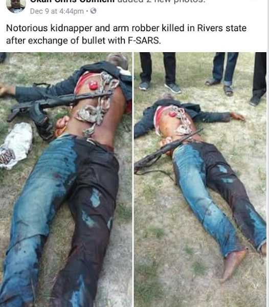 Photos: Suspected Kidnapper Killed During Gun Battle With SARS Operatives In Rivers State