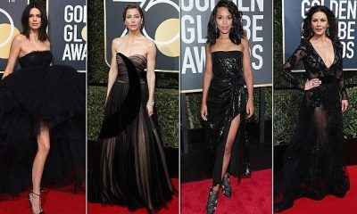 Red Carpet Photos Of Hollywood Celebrities At The Golden Globe Awards All Dressed In Black To Protest Sexual Harassment In The Industry