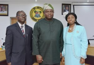 PIX 6472: Lagos State Governor, Mr. Akinwunmi Ambode (middle), with Engr. Adeniyi Abdul (left) as Permanent Secretary, Ministry of Waterfront Infrastructure Development and Mrs. Adebimpe Dada (right) as Permanent Secretary, Audit Service Commission during the swearing in of the new Permanent Secretaries at the EXCO Chambers, Lagos House, Ikeja, on Friday, January 12, 2018.