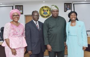 Lagos State Governor, Mr. Akinwunmi Ambode (2nd right), with Head of Service, Mrs. Folasade Adesoye (left); newly appointed Permanent Secretaries, Ministry of Waterfront Infrastructure Development, Engr. Adeniyi Abdul (2nd left) and Audit Service Commission, Mrs. Adebimpe Dada (right) during the swearing in ceremony of the Permanent Secretaries at the EXCO Chambers, Lagos House, Ikeja, on Friday, January 12, 2018.