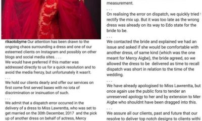 Tailor Who Was Accused Of Giving Out Wedding Reception Dress To Mercy Aigbe Speaks Out