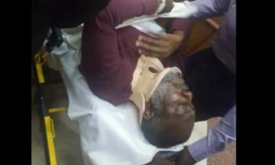 Former PDP spokesperson, Olisa Metuh arrives court in an ambulance