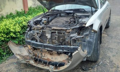 CCTV Footage Of How 3 Robbers Stripped A Car Parked On The Street Of Its Side Mirrors, Brainbox And Headlamps In Lagos