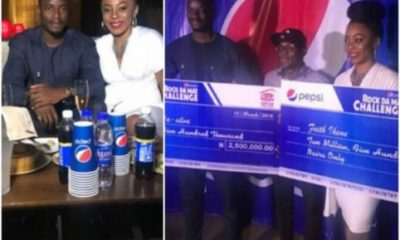 BBNaija: Leo And Ifu Ennada Receive Their N5million Gift Prize From Pepsi