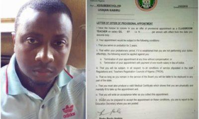 Newly Employed Kaduna State Teacher Shares The Good News On Facebook