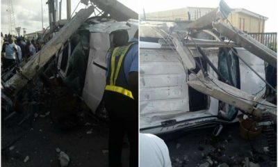 Photos: Drunk alleged yahoo boys crash their SUV in Lekki