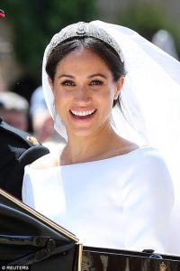 Photo Speaks: All You Need To Know About Meghan Stunning Pure White Silk Gown, 15ft Veil And Diamond Tiara Lent By The Queen