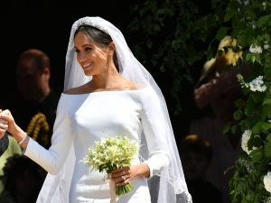 Photo Speak: All You Need To Know About Meghan Markle's Stunning Pure White Silk Gown, 15ft Veil And Diamond Tiara Lent By The Queen
