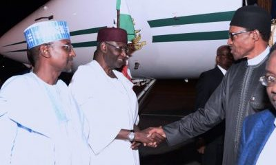 President Buhari last night arrived Nigeria. He was received by his Chief of staff, Abba Kyari and other government officials.