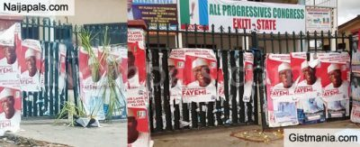 POLITICS Ekiti APC Secretariat Gate Sealed With Charms & Fetish Items Following The Bloody Primaries (Photos)
