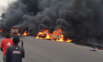 Breaking: Many Feared Trapped As Petrol Laden Tanker Catches Fire In Lagos + Video, Photos