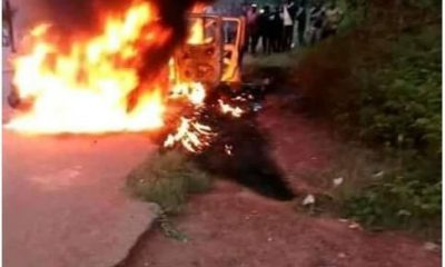 Graphic Photos: Four Policemen Shot By Gunmen And Burnt Beyond Recognition At A Checkpoint In Edo State
