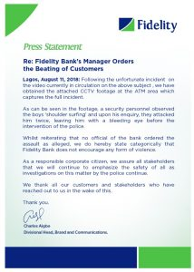 Official Press Statement - Fidelity Bank's Manager Orders The Beating Of Customers