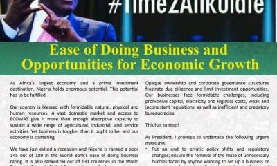 Atiku Shares Thoughts On Ease Of Doing Business And Opportunities For Economic Growth (#Time2Atikulate series)