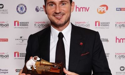 England and Chelsea legend, Frank Lampard has been inducted into the Legends of Football Hall of Fame. The now Derby County manager picked up the prestigious gong at a star-studded charity event which took place on Monday night n London. Chelsea legend Frank Lampard inducted into Legends of Football Hall of Fame (Photos) The Chelsea legend has now joined a list of elite names to have received the award following his scintillating career at club and international level. Lampard said after receiving his award: 'It's a real honour for me to receive the Legends of Football award this year. Just seeing my name mentioned amongst those past winners is something to cherish.' Chelsea legend Frank Lampard inducted into Legends of Football Hall of Fame (Photos)