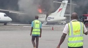 Aircraft Goes Up In Flames At Lagos Airport