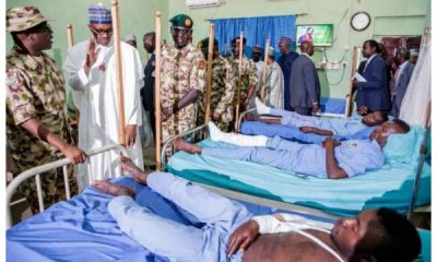 President Buhari Visits Wounded Soldiers In Maiduguri