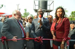 Mission Director, United States Agency International Development(USAID), Mr. Stephen Haykin; Eze of Amiyu Uhu Community, His Royal Majesty, Ifeanyi Udeagha; Deputy Governor, Abia State, Rt. Hon. Ude Okochukwu; Commissioner for Public Utilities and Water Resources, Barrister Chidebere Nwoke and Public Affairs and Communication Manager, Coca-Cola Nigeria, Mrs. Nwamaka Onyemelukwe during the commissioning of Water and Sanitation facilities in Amiyi Uhu community in Abia state recently.