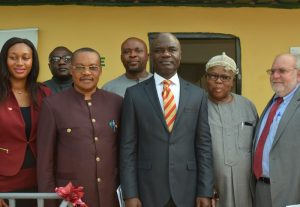 L-R: Public Affairs and Communication Manager, Coca-Cola Nigeria, Nwamaka Onyemelukwe; Country Program Director, Partners for Development(PfD), Mr. Ediri Iruaga; Commissioner for Public Utilities and Water Resources, Barrister Chidebere Nwoke; General Manager, Water Board Corporation, Abia state, Mr. Joe Ogbonna; Deputy Governor, Abia State, Rt. Hon. Ude Okochukwu, Eze of Amiyu Uhu Community, Ifeanyi Udeagha and Mission Director, United States Agency International Development(USAID), Mr. Stephen Haykin during the commissioning of Water and Sanitation facilities in Amiyi Uhu community in Abia state.