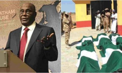 Presidency, Atiku Clash Over Buhari's Absence At Burial Of Soldiers