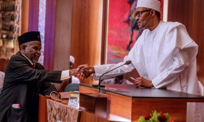 Photos: President Buhari Swears In Justice Ibrahim Tanko Mohammed As Acting Chief Justice of Nigeria