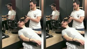 This 'Bubbly' Barber Washes Client's Hair With Champagne