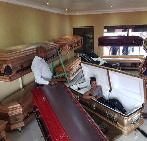 'Pantless' South African Dancer Zodwa Wabantu 'Test Drives' Own Coffin