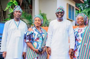 #PMBINLagos: Check Out Beautiful Photos Of Sanwo-olu, Hamzat And Their Wives During APC Rally Today