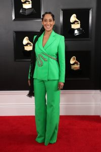 Tracee Ellis Ross was a goddess in green Ralph And Russo suit with a glittering snake slithering through