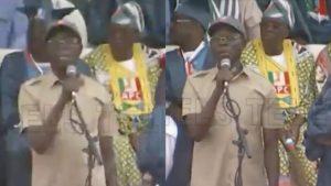 VIDEO: Oshiomhole Booed, Stoned At Abeokuta APC Rally In Ogun