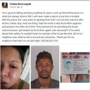 Thai Lady Calls Out Abusive Nigerian Lover On Facebook