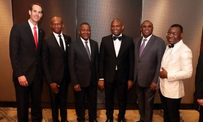 l-r: CEO, UBA UK, Mr. Patrick Gutmann; GMD/CEO, UBA Plc, Mr. Kennedy Uzoka; President, Dangote Group, Alhaji Aliko Dangote; Group Chairman, UBA Plc, Mr. Tony O. Elumelu; President, Afreximbank, Dr. Benedict Oramah; and CEO, UBA Africa, Mr. Victor Osadolor at the launch of UBA UK in London on Thursday