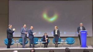 EHT scientists reveal the black hole at a press conference in Brussels Read more: https://metro.co.uk/2019/04/10/black-hole-pictured-first-time-human-history-9152698/?ito=cbshare Twitter: https://twitter.com/MetroUK | Facebook: https://www.facebook.com/MetroUK/