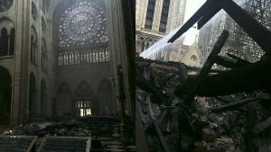 he first pictures inside the cathedral on Tuesday morning appear to show at least one of the rose stained-glass windows still intact (left), but debris is covering the floor.