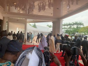 Photo Speak: George Weah Visits Buhari At Presidential Villa