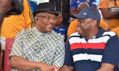 L:R Dr Nkem Okeke, deputy governor, Anambra State and Mr. Nnamdi Okonkwo, MD/CEO, Fidelity Bank Plc at the finals of the U13 and U17 Academicals Championships organized by Anambra State Sports Development Commission, sponsored by Fidelity Bank Plc held at St Mary's High School, Ifitedunu, Anambra State, weekend.