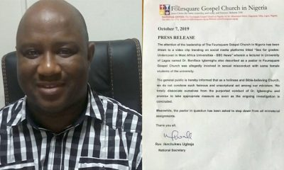 SexForGrades: Foursquare Church Sacks Randy Lecturer Boniface Igbeneghu