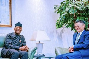 Vice President Yemi Osinbajo (5th R); with the Executive Chairman, Alibaba Group Co -Founder, Mr Jack Ma (4TH L); Minister of Industry, Trade and Investments, Otunba Niyi Adebayo (4th R) with Chinese delegation in Abuja