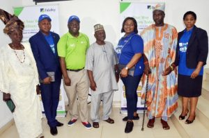 L-R: - Iyaloja of Bodija Market, Alhaja Sikiratu Adebayo; Divisional Head, Retail Group, Fidelity Bank Plc, Richard Madiebo; Regional Bank Head, Southwest 1, Fidelity Bank Plc, Adebayo Adeyinka; Babaloja of Bodija Market, Alhaji S.A. Jimoh; Executive Director, Shared Services & Products, Chijioke Ugochukwu; High Chief Agboola Bukola JP and Head, Savings Group, Fidelity Bank Plc, Janet Nnabuko at the 1st Monthly Draw of the Fidelity Get Alert in Millions (GAIM) Savings promo where 13 customers won a total of N15 million in Ibadan, Oyo State ….Wednesday