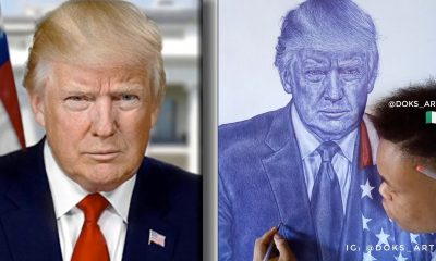 'Never Give Up Your Dream' —Donald Trump As He Hails Nigerian Artist Who Drew Him